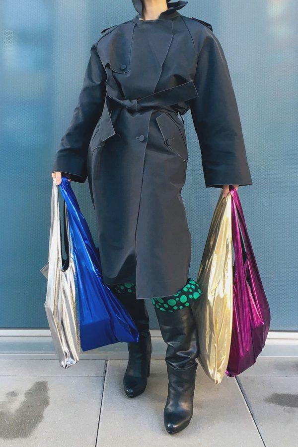 Glam rock shopper silver & blue & gold beige & violet