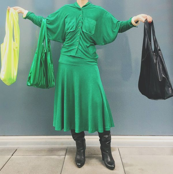 Glam rock shopper black smoking & green & glossy fluo yellow