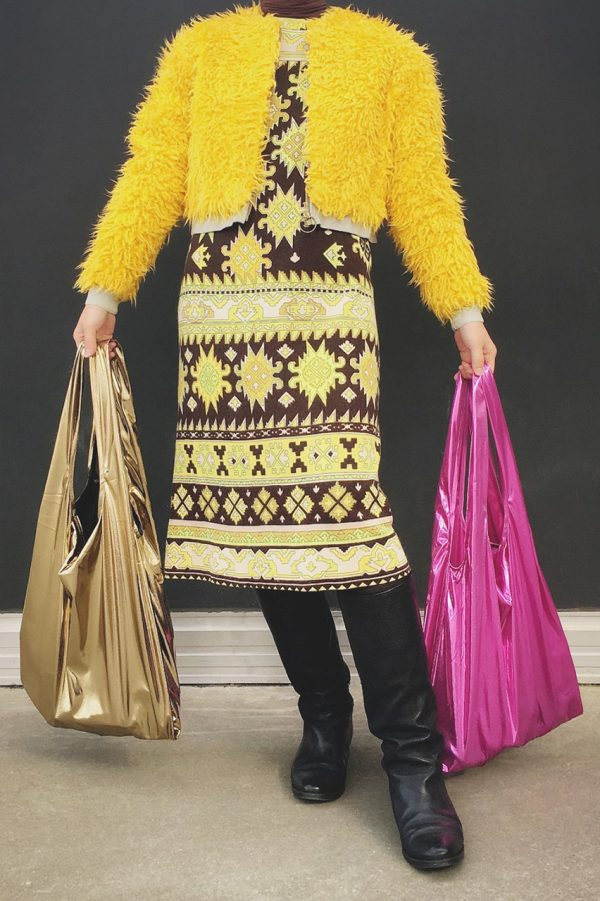 Glam rock shopper gold-black